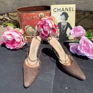 Chanel Brown Suede Heels Size 8